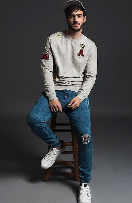 Help me find this grey patched sweatshirt, blue ripped jeans and white sneakers. - SeenIt