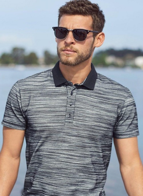 Find me this navy blue textured polo tshirt and black clubmasters online. - SeenIt