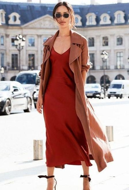 Looking for similar red maxi dress and overcoat - SeenIt