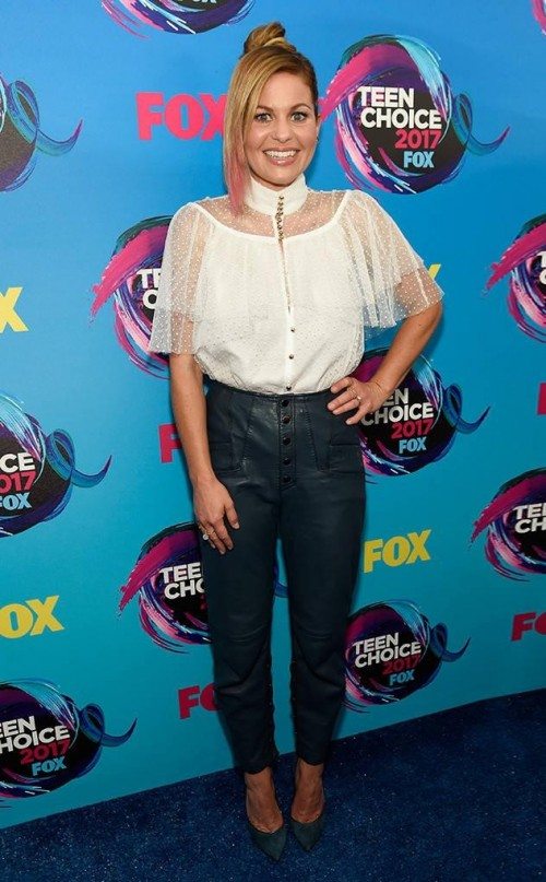 Yay or Nay ? Candace Cameron-Bure in a white sheer top and black leather pants at the Teen Choice Awards 2017 - SeenIt