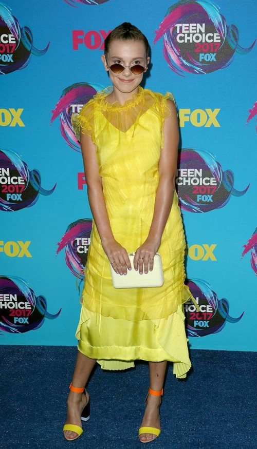 Yay or Nay? Millie Bobby Brown in a yellow midi dress at the Teen Choice Awards - SeenIt