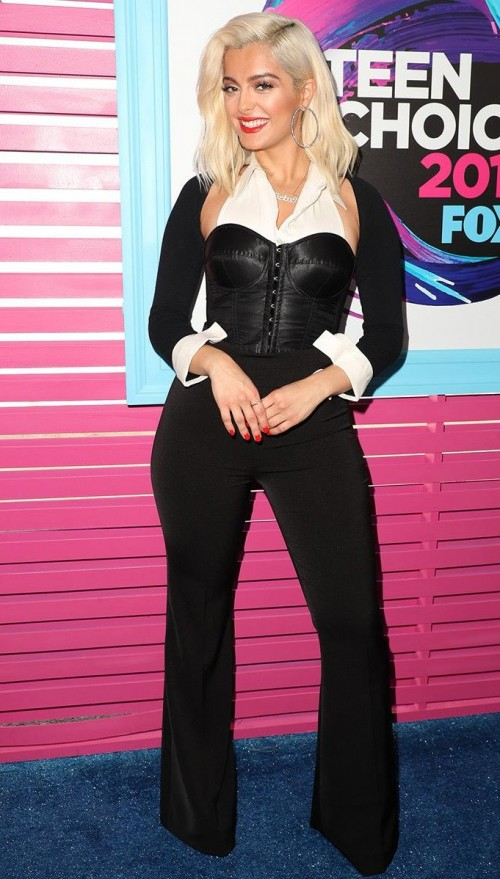 Yay or Nay? Bebe Rexha in a monochromatic look with a black corset top with pants at the Teen Choice Awards - SeenIt