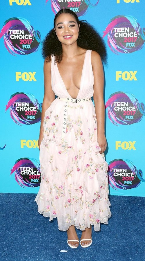 Yay or Nay? Aisha Dee in a white floral ruffled dress at the Teen Choice Awards - SeenIt