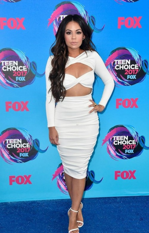 Yay or Nay? Janel Parrish in a white bandage bodycon dress at the Teen Choice Awards - SeenIt