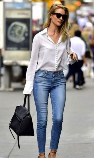 Looking for a similar white shirt, denim and black bag - SeenIt