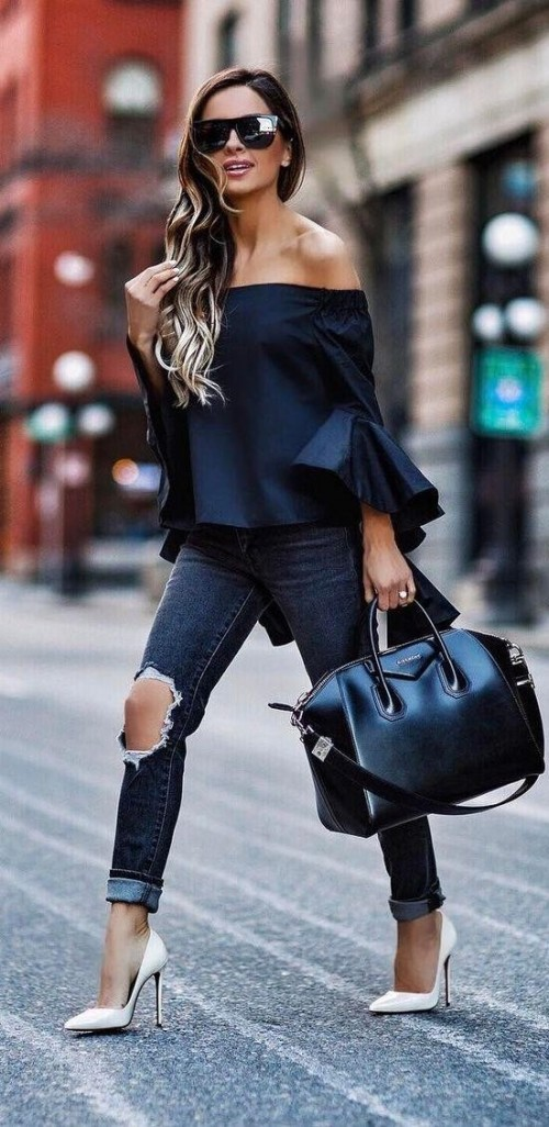 Looking for similar off shoulder bellsleeves black top, ripped jeans and white heels - SeenIt