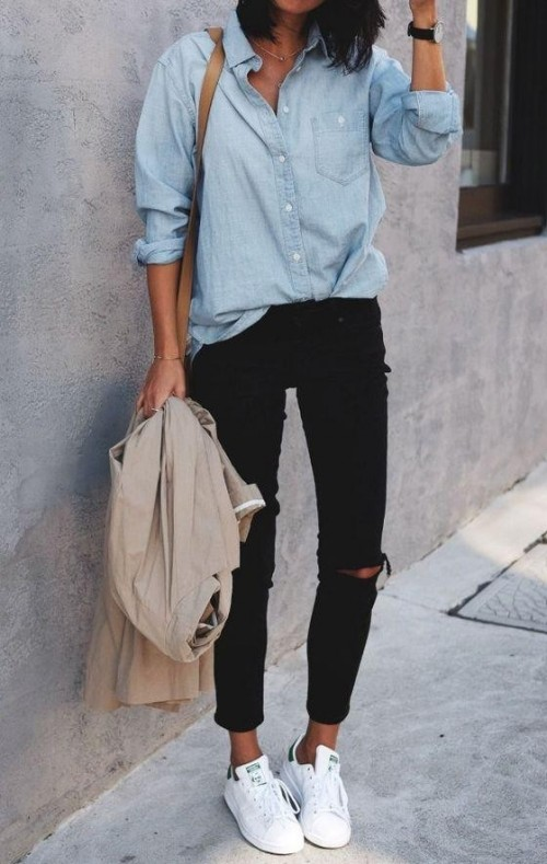 Looking for a similar denim shirt, black ripped jeans, white shoes - SeenIt