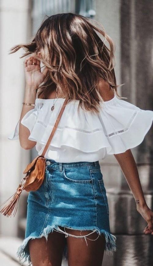 Looking for a similar white off shoulder top, denim skirt - SeenIt