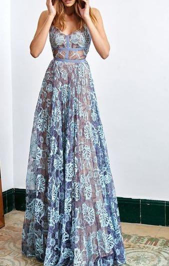 I'm looking for a similar blue chiffon long gown but with lining - SeenIt