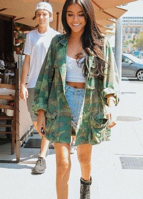 I'm looking for this exact camo print jacket and similar blue shorts which Madison Beer is wearing - SeenIt