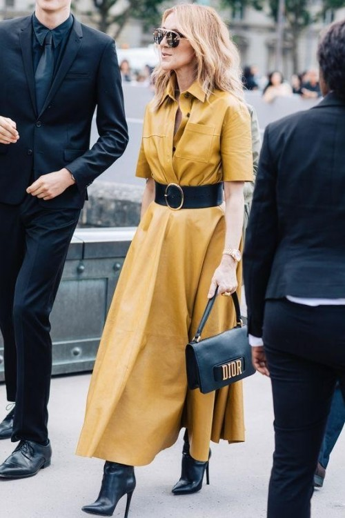 Want a similar mustard dress and black boots like the one which Celine Dion is wearing - SeenIt