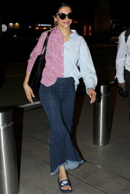 Want the flared denim jeans which Deepika Padukone is wearing at the airport - SeenIt