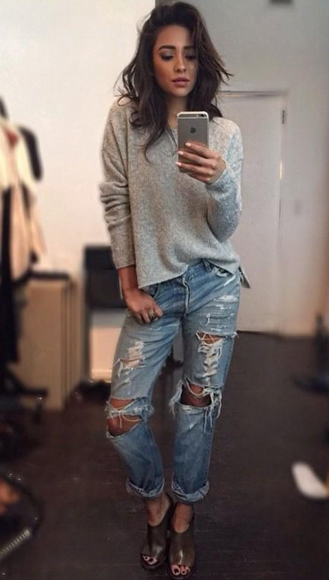 Looking for the grey full sleeves top with blue ripped boyfriend jeans that Shay Mitchell is wearing - SeenIt