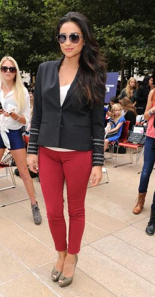 Looking for a similar black blazer with red pants as Shay Mitchell is wwearing - SeenIt