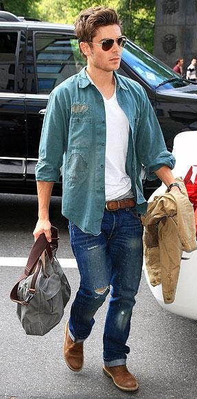 Looking for this sea-green shirt, white tee and blue ripped jeans that Zac Efron is wearing - SeenIt