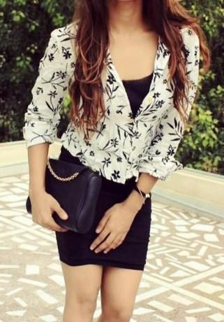Looking for something like this white printed shirt could be a top or shrug. - SeenIt