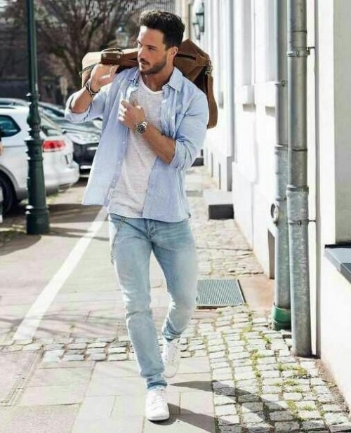 I looking for similar blue shirt ,white tshirt, blue denim jeans and the white sneakers - SeenIt