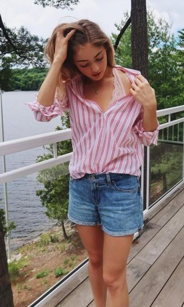 Want the striped shirt , blue denim shorts and the lace bralet - SeenIt
