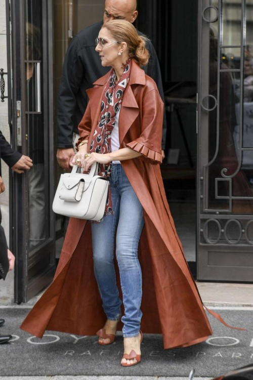 i m looking for a similar brown coat, white shirt, printed scarf and blue jeans - SeenIt