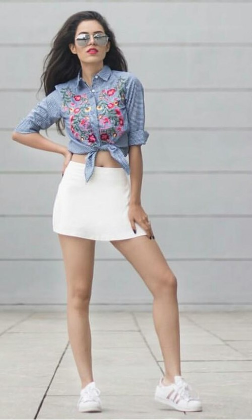 I'm looking for similar embroidery shirt worn by Akriti Rana Gill. - SeenIt