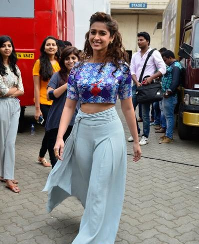 Want the blue printed croptop and pants which Ileana D'cruz is wearing for Happy Ending promotions - SeenIt