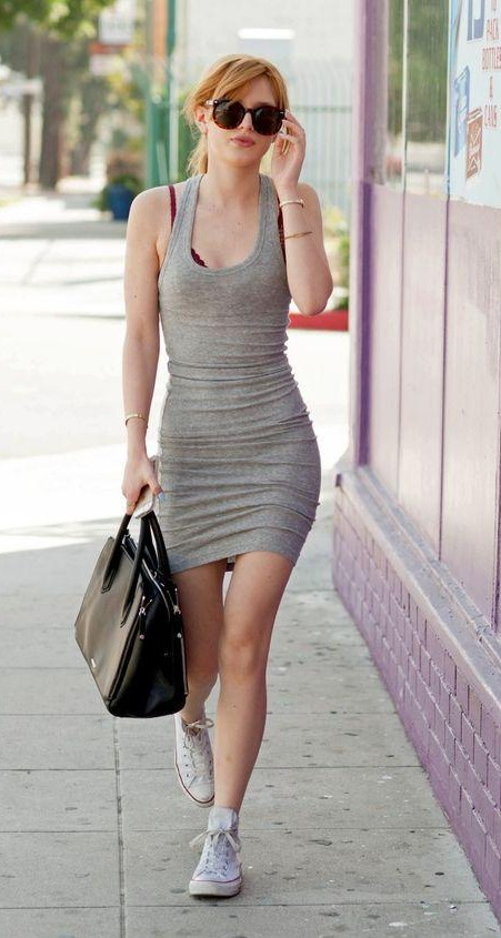 Looking for this grey bodycon dress, black bag, white sneakers as Bella Thorne is wearing - SeenIt
