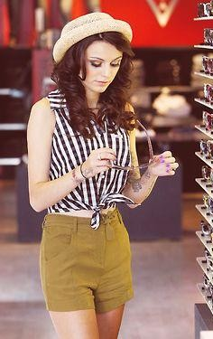 Want similar white black striped croptop with olivegreen shorts that CherLloyd is wearing - SeenIt