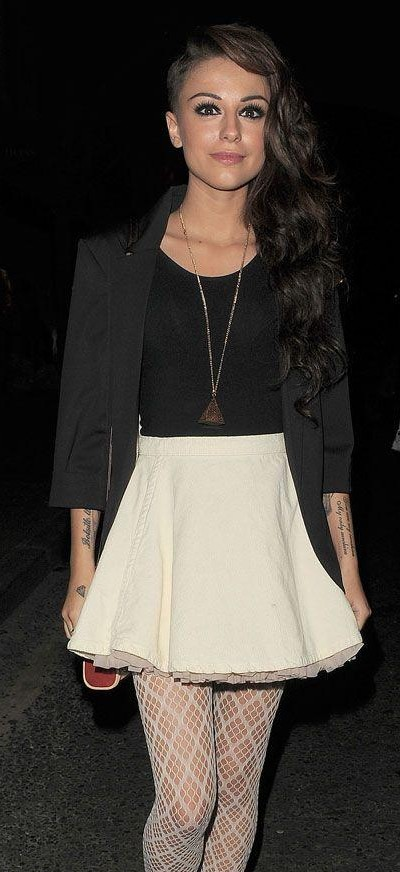 Looking for the black top, white miniskirt with black blazer that CherLloyd is wearing - SeenIt
