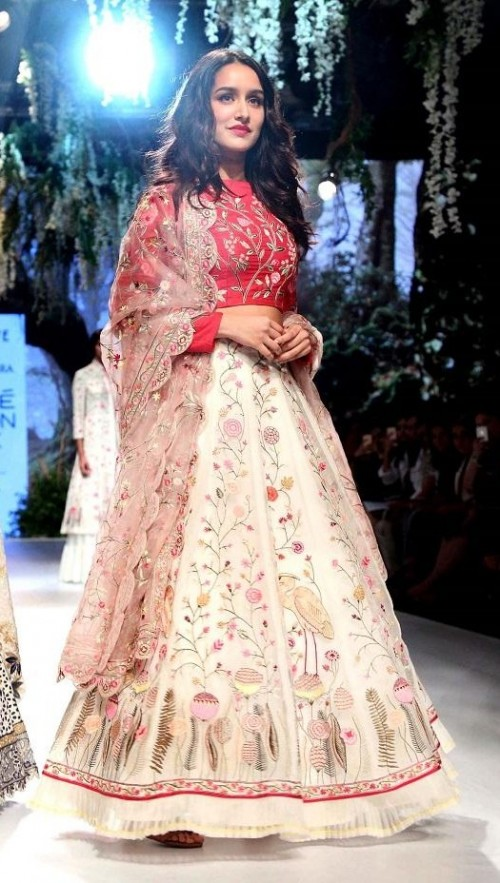Yay or Nay? Shraddha Kapoor wore a red and beige floral lehenga for Rahul Mishra during the day 3 of Lakme Fashion Week - SeenIt