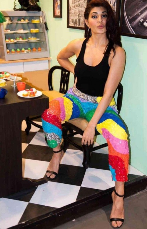 I m looking for a same rainbow sparkling pant like jacqueline fernandez is wearing for a gentleman promotions - SeenIt