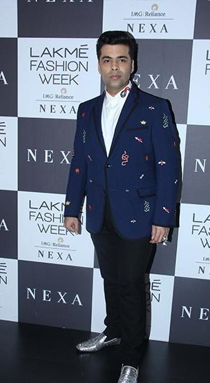 Yay or Nay? Karan Johar spotted wearing a blue blazer at the Manish Malhotra's finale show during the Lakme Fashion Week - SeenIt
