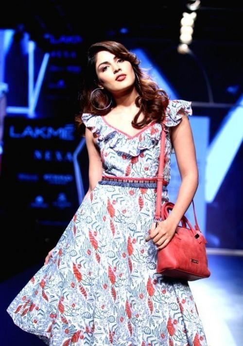 Yay or Nay? Rhea Chakraborty walks the ramp in a printed midi dress during the Lakme Fashion Week - SeenIt