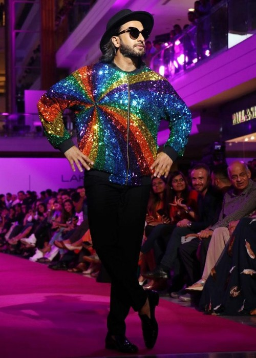 Yay or Nay? Ranveer Singh walked the ramp for Manish Arora in a multi-colored sequin jacket during the Lakme Fashion Week - SeenIt