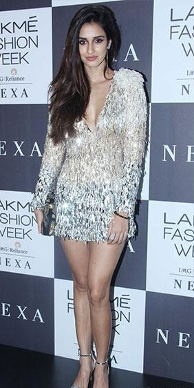 Yay or Nay? Disha Patani wearing a shimmery short dress at the Manish Malhotra's finale show during the Lakme Fashion Week - SeenIt