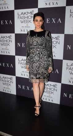 Yay or Nay? Karisma Kapoor wearing a black bodycon embellished dress at the Manish Malhotra's Grand Finale show during the Lakme Fashion Week - SeenIt