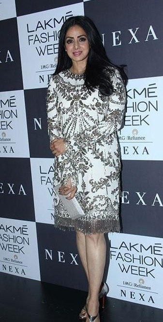 Yay or Nay? Sridevi spotted wearing a white and black dress at the Grand Finale of Lakme Fashion Week - SeenIt