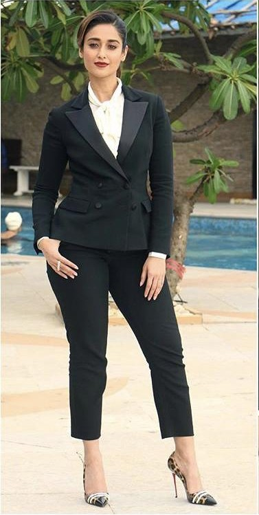 Find a similar blazer and pants outfit like Ileana d Cruz is wearing while promoting her upcoming movie Baadshaho - SeenIt
