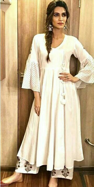 I am looking for the white kurti which Kriti Sanon is wearing while promoting bareily ki barfi - SeenIt