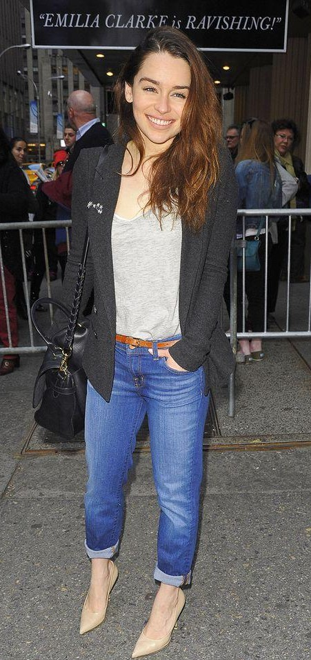 Want similar grey top with black blazer, blue jeans and nude pumps as Emilia Clarke is wearing - SeenIt