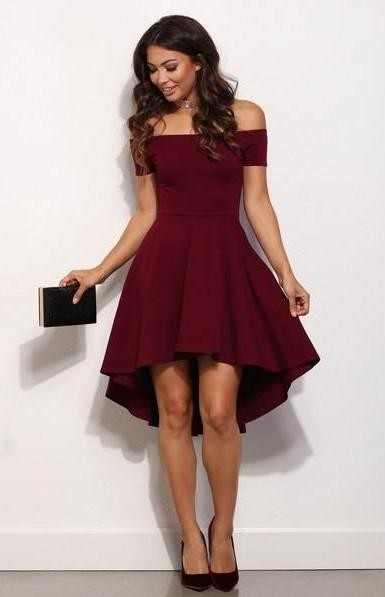 Looking for a similar burgundy bardot hi-low  dress, heels and black clutch outfit - SeenIt