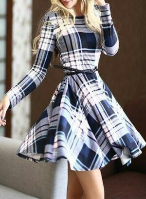 Looking for a similar flared checkered pattern dress - SeenIt