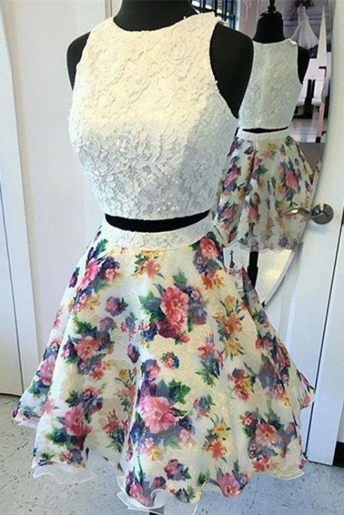 Looking for a similar white lace top and floral skirt outfit for college freshers - SeenIt
