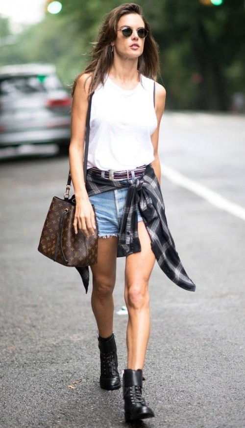 Help me find the entire outfit that Alessandra Ambrosio is wearing..white top, blue denim shorts, plaid shirt, black sunglasses and ankleboots.. - SeenIt