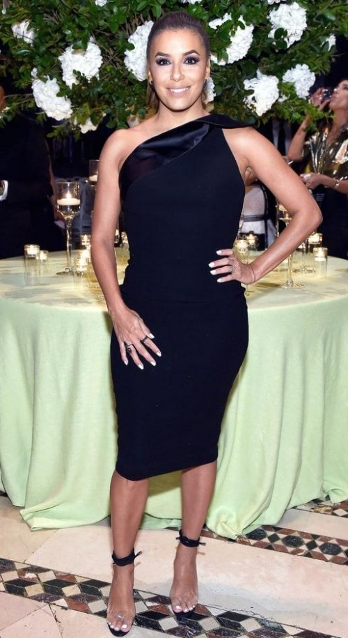 Can you help me find a similar black one shoulder midi bodycon dress and transparent heels like Eva Longoria is wearing. - SeenIt