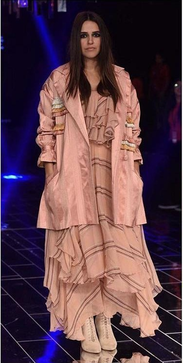 Yay or Nay? Neha Dhupia spotted in a Hemant-Nandita outfit at the Grand Finale by Manish Malhotra during the Lakme Fashion week , Mumbai - SeenIt