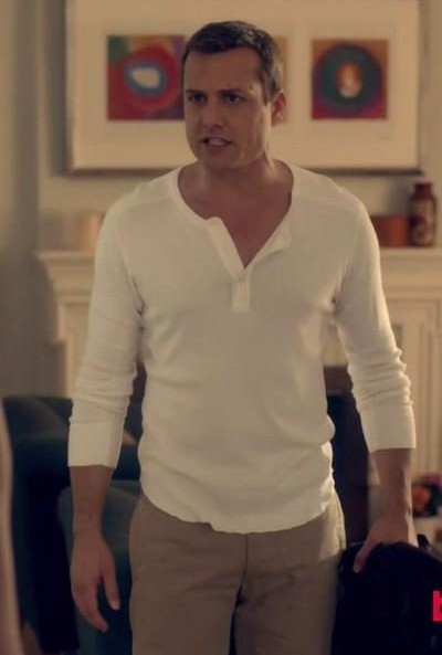 help me recreate harvey's outfit online please, the henley and beige pants - SeenIt