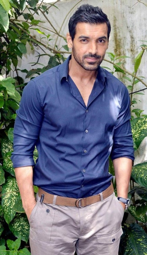 Want similar blue shirt with brown belt and beige chino as seen on John Abraham - SeenIt