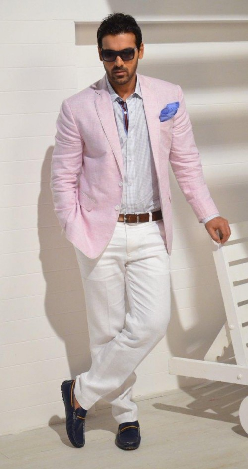 want similar blue striped shirt, white pants, brown belt, blue loafers and pink blazer that John Abraham is wearing - SeenIt
