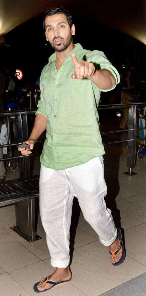 Looking for this green shirt with white pants as John Abraham - SeenIt