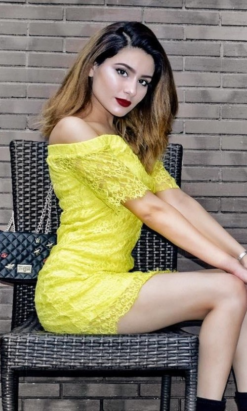 Where can I find this yellow off shoulder lace mini dress like Karina Bedi is wearing? - SeenIt